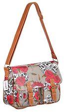 Womens Oil Cloth Satchel Skull Roses Print Cross Body Shoulder Handbag Bag