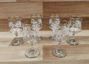 6 x Vintage Floral Etched Gold Rimmed Sherry / Port Glasses
