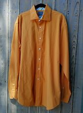 THOMAS DEAN Orange Men's Shirt Sz XL Button Down Long Sleeve Cotton