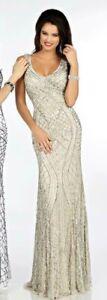 FULLY BEADED GATSBY STYLE NUDE LONG DRESS BNWT