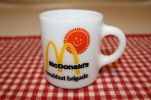 Vintage McDonald's BREAKFAST BRIGADE White Milk Glass COFFEE MUG Cup