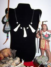 BUFFALO TOOTH NECKLACE :    ( BT- 3/  Blk-W )