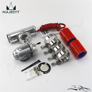 """SQV Blow Off Valve BOV IV +2.5"""" 63mm Flange Pipe+Red Silicone Hose w/ Clamps Kit"""