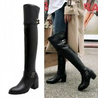 Women's Ladies Over The Knee Thigh High Pull On Low Mid Heel Knight Boots Shoes