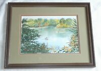 Vtg Watercolor Painting FISHING ON BIG CREEK by Pat Hykes IOWA STATE PARK Framed