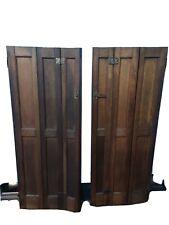 Vintage Oak Wood Pair Indoor Shutters