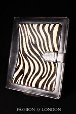 iPad 2 3 & 4 (Black Fur Zebra Print) Real Genuine Leather Cover Case Stand Folio