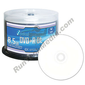 50 OQ 8x 8.5GB White Thermal Hub Printable DVD+R DL Double Layer OQDPRDL08WTP
