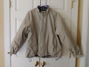 Big Kid Boy Lands End Thermacheck Fleece Lined Tan Winter Coat Size XL 18/20