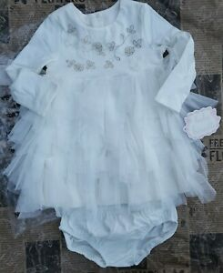 2 Piece Set Baby Biscotti IVORY Tulle Ruffle Sparkle Dress Set Size 18M GoRgEoUs