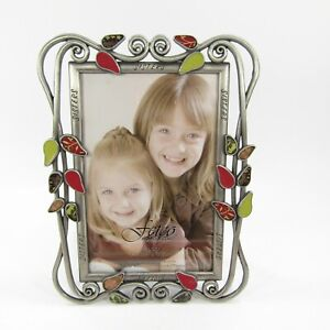 Fetco SISTERS Picture Photo Frame Tabletop Metal enamel leaves ~ holds 4x6 photo