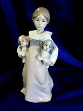 Lladro Arms Full Of Love Brand New In Box #6419 Girl Holding Puppies Save$ F/Sh