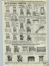 1917 PAPER AD Kid's Old Hickory Andrew Jackson Pattern Furinture Rocking Chair