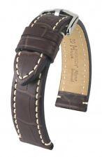 HIRSCH Uhrenarmband Armband Uhr Knight Leder Braun 24 mm Stegbreite