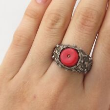 Antq 925 Silver Real Cinnabar Ethnic Design Ring Size 7