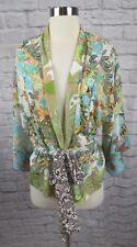 Nothing Matches M Medium Green Blue Patchwork Floral Paisley Tie Waist Top