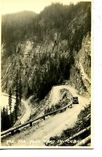 Yoho Valley Dirt Road Switchback-Old Car-Canada-RPPC-Real Photo Vintage Postcard