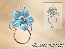 NEW Gorgeous Blue Crystal Flower Eye Glasses Spectacle Hanger Brooch Pin Holder
