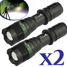 2X 99000 Lumens Zoomable T6 5 Modes LED Flashlight Torch Tactical Light Aluminum