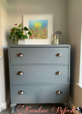 Solid wood grey chest of drawers with dark copper handles