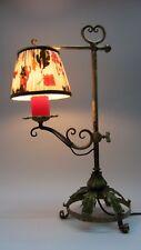 Jugendstil Lampe Tischlampe art nouveau Galgenlampe Schmiedeeisen Florentiner