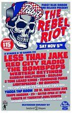 "LESS THAN JAKE ""THE REBEL RIOT"" 2016 TEMPE CONCERT TOUR POSTER- Punk/Reggae Rock"