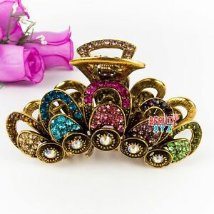 Hot Sale 4 inch elegant rhinestone water drop metal big hair claw pin for woman