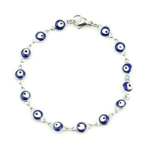 7 Inch 304 Stainless Steel Blue Puffed Round Evil Eye Bezel 2 Sided Bracelet