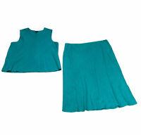 Eileen Fisher Woman Lagenlook Turquoise 100% Linen Set Skirt & Shirt Boho Sz 3X