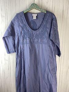 Soft Surroundings Women's Medium Purple Embroidered Kaftan Maxi Dress EUC
