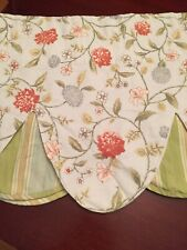 """One Waverly Double Layer Valance Scallops Floral 50""""W X19""""L"""