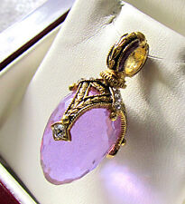 SALE ! STUNNING MADE OF STERLING SILVER 925 AND 24K GOLD AMETHYST EGG PENDANT