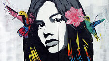 A0 canvas print girl face birds flowers Grafitti Street art painting
