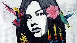 A0 canvas print girl face birds flowers Grafitti Street art painting