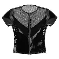Mens Wetlook Leather Fishnet Splice Tank Top T-Shirt Short Sleeve Shirt Clubwear