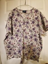 """Absolute Scrub Top size 2X Purple/Grey floral-Chest 26.5""""/Length 29"""""""