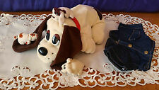 Large Cream Pound Puppy with 3 Babies  Red Collar & Jean Jacket Puppies