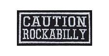 Caution Rockabilly Biker Patch Aufnäher Rockabella La Muerte Fiftees Sixtees V2