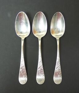 "SET/3 19th C. ANTIQUE TOWLE ""NO. 38 ENGRAVED"" STERLING SILVER  TEASPOONS"