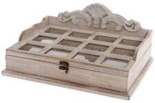 Schmuckkasten Box Glasdeckel Beige Holz Landhaus Cottage Schmuckbox Verzierungen
