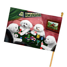 Home of Bichon Frise 4 Dogs Playing Poker House Flag