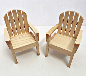 """Doll House Wooden Adirondack Chairs Set of Two Natural Wood 5 1/2"""" Tall"""