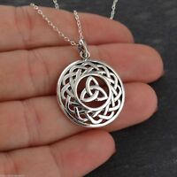 Celtic Trinity Knot Pendant Necklace - 925 Sterling Silver - Round Triquetra NEW