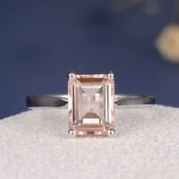 2ct Emerald Cut Peach Morganite Solitaire Engagement Ring 14k White Gold Finish