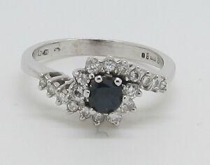 Dazzling 18ct White Gold Sapphire Diamond Twist Cluster Ring