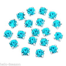 250PCs Lake Blue Glass Single Claw Rhinestone 4mm x4mm