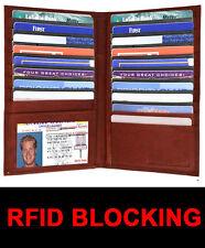 Brown RFID Blocking Leather Secretary Wallet 19 Card Checkbook Holder Men Lady