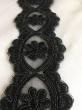 Black Fancy Sequin Lace Trim Bridal Wedding Ribbon Craft NET Border 1yd x 4.5cm
