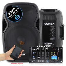 "Pair Vonyx 15"" Active Powered Speakers Bluetooth MP3 SD USB Mixer 1600W SSC2697"