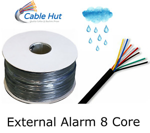 8 Core Alarm Cable PE Outdoor / External Duct Grade In Black 100m